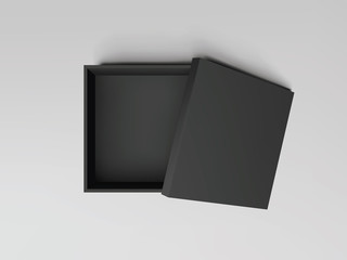 Black open empty squares cardboard box top view. Mockup template for design products, package, branding, advertising. Vector illustration.