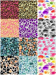 Huge set seamless backgrounds with strokes, animal print, abstract pattern and pebbles for fabric, textile, wrapping paper, wallpaper, web design