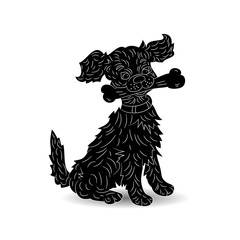 Silhouette of a dog holding a bone, symbol of the year, cartoon (ornate) on a white background,