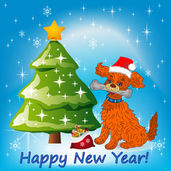Illustration, Christmas orange dog sitting near a Christmas tree in a Santa Claus hat