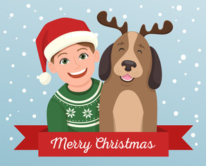 Christmas greeting card of a girl with his dog. The girl is wearing a Santa Claus hat and the dog wears a diadem with reindeer horns. Vector illustration.