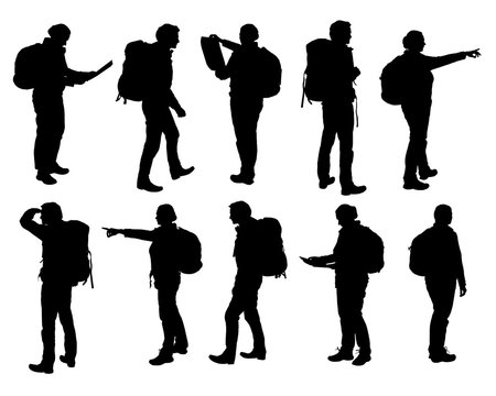Set of vector realistic silhouettes of man and woman standing, walking and showing hand and map and backpack in different poses - isolated