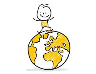 Strichfiguren / Strichmännchen: Erde, Weltreise. (Nr. 145)