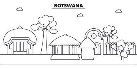 Botswana architecture skyline: buildings, silhouette, outline landscape, landmarks. Editable strokes. Flat design line banner, vector illustration concept.
