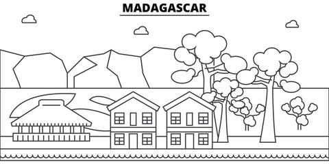 Madagascar architecture skyline: buildings, silhouette, outline landscape, landmarks. Editable strokes. Flat design line banner, vector illustration concept.