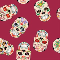 Seamless wallpaper with vintage mexican scull with ethnic ornament