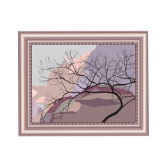 Copper rectangular frame with the image of a curved tree in mountains