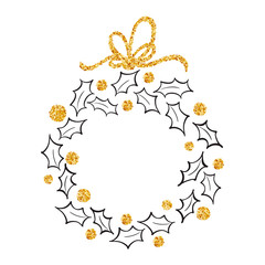 Round frame of Doodle Christmas wreath ilex with gold bow