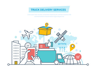 Truck delivery services concept. Trucking, delivery. Shipping goods. Transportation products.