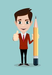 businessman with pencil . Stock vector illustration for poster, greeting card, website, ad, business presentation, advertisement design