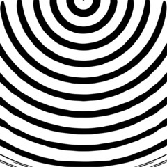 Radial waves with interference patterns, Black and white optical illusion style vector design