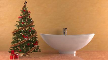 Vasca Da Bagno Romantica Con Candele : Vasca da bagno su lion s zampe e decorata con fiori sul pavimento