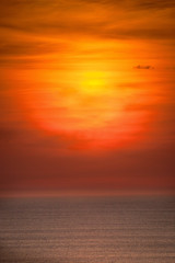 Amazing sunset with golden colors