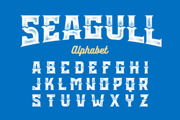 Vintage Style Seagull font, alphabet vector illustration