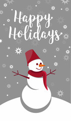 Vector decorative elements and cards for Christmas and new year holidays.winter landscape with a happy snowman with open arms and snowfall.Christmas vector greeting card with hand lettering text