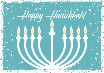 Postcard for greetings with Festival of Lights, Feast of Dedication Hanukkah. Menorah with candles on light blue background with snow. Vector illustration