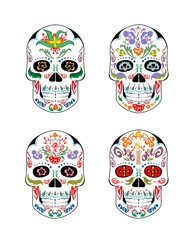 Set of vintage mexican skull