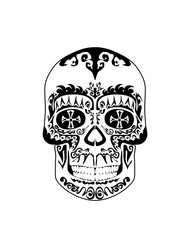 Vintage black and white gothic skull