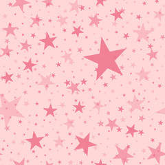 Pink stars seamless pattern on light pink background. Pleasant endless random scattered pink stars festive pattern. Modern creative chaotic decor. Vector abstract illustration.