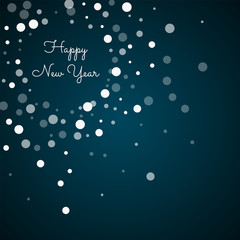 Happy New Year greeting card. Falling white dots background. Falling white dots on blue background. Beautiful vector illustration.