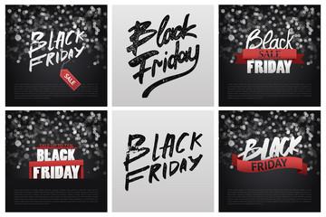Black Friday Sale Poster Background. Handwritten modern brush lettering.