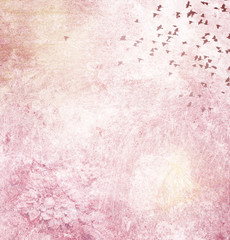 Foto auf Acrylglas Schmetterlinge im Grunge Background page design for a photo book, scrapbook or wallpaper in pink and yellow color blend; abstract stone and metal textures with silhouette of flock of bird flying and butterfly
