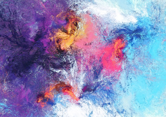 Bright futuristic clouds. Color artistic splashes. Abstract beautiful painting texture. Modern cloudy background.  Fractal artwork for creative graphic design. Fotomurales