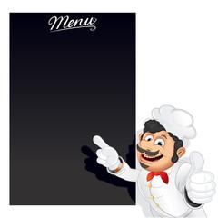 Funny Cartoon Chef with Blank Chalkboard Menu