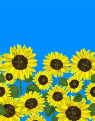 Seamless border with abstract yellow sunflowers