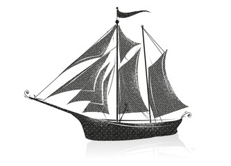 Handgezeichnetes Segelboot auf dem Meer. Segelschiff Silhouette mit Spiegelung