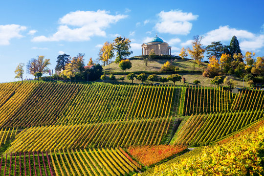 Stuttgart Germany scenic view of Rotenberg mausoleum and vineyards
