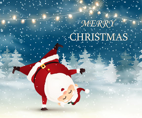 Merry Christmas. Cute, Cheerful Santa Claus standing on his arm in Christmas snow scene. Winter landscape.