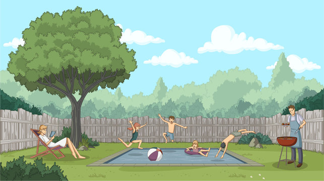 Cute happy cartoon children jumping into a swimming pool. Backyard with people.