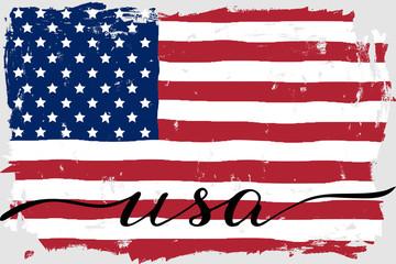 USA american flag america grunge paint hand drawn handwritten script text vector.