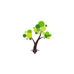 Writer Idea Tree Illustration Logo and Icon Element Template