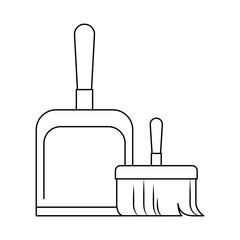 dustpan and hand broom in monochrome silhouette