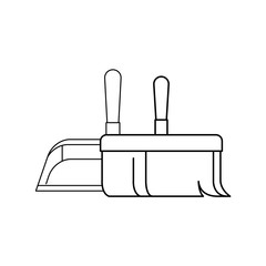 dustpan and hand broom in closeup in monochrome silhouette