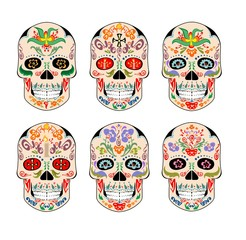 Set of vintage mexican scull with ethnic ornament