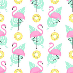 Tropical trendy seamless pattern with pink flamingos, donuts and green palm leaves on white background. Exotic Hawaii art background. Design for fabric, wallpaper, textile and decor.