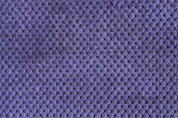 Texture of natural linen fabric in pattern blue color close-up in vintage style