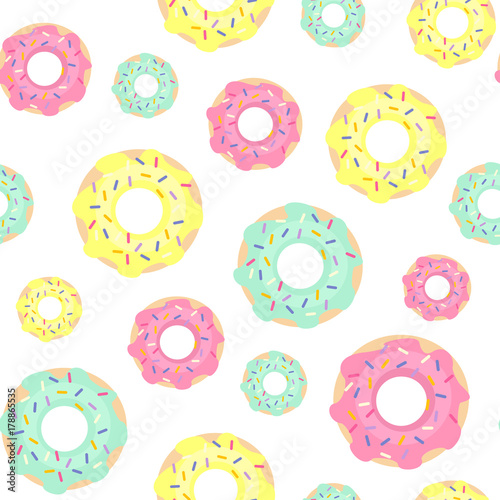 Bright Donuts Seamless Pattern On White Background Cute Sweet Food Baby Colorful Design