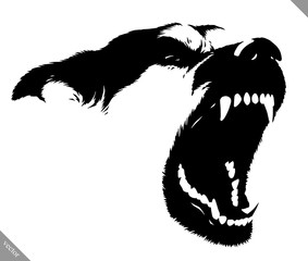black and white linear paint draw dog vector illustration