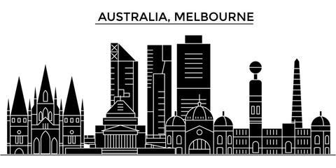 Australia, Melbourne architecture skyline, buildings, silhouette, outline landscape, landmarks. Editable strokes. Flat design line banner, vector illustration concept.