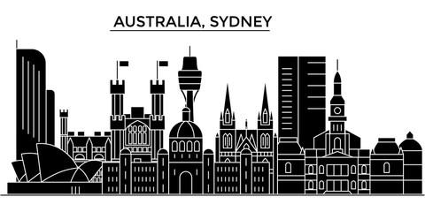 Australia, Sydney architecture skyline, buildings, silhouette, outline landscape, landmarks. Editable strokes. Flat design line banner, vector illustration concept.