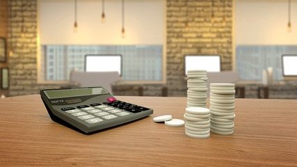 Calculator coins on a wooden table, economic concept 3D Illustration