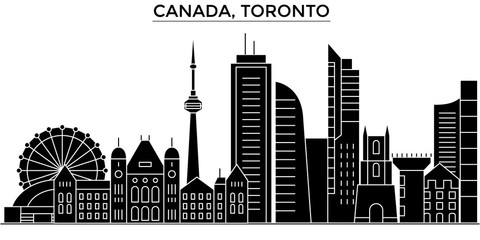 Canada, Toronto architecture skyline, buildings, silhouette, outline landscape, landmarks. Editable strokes. Flat design line banner, vector illustration concept.