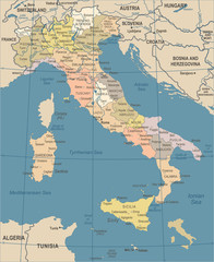 Italy Map - Vintage Vector Illustration