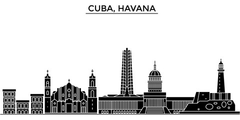 Cuba, Havana architecture skyline, buildings, silhouette, outline landscape, landmarks. Editable strokes. Flat design line banner, vector illustration concept.