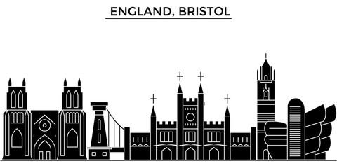 England, Bristol architecture skyline, buildings, silhouette, outline landscape, landmarks. Editable strokes. Flat design line banner, vector illustration concept.