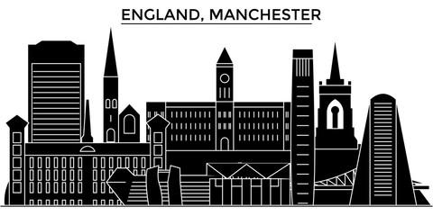 England, Manchester architecture skyline, buildings, silhouette, outline landscape, landmarks. Editable strokes. Flat design line banner, vector illustration concept.